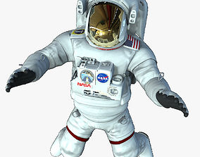 3D asset low-poly Rigged Astronaut