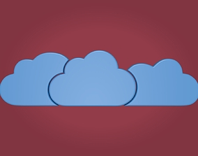 Cartoon Clouds - Cloud Computing Icon 3D model