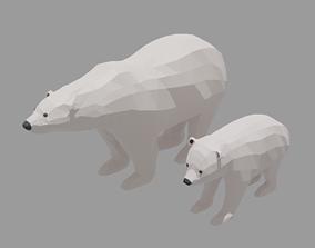 3D model Cartoon Polar Bear Family