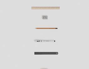 PBR Office Supplies Accessories Chancellery 3D asset