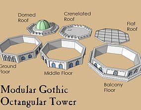 3D print model 6mm or 8mm Modular Gothic Octangular Tower