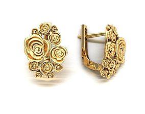 Roses earrings 3D print model