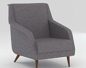 3D Grey Colour Tapestry Modern Armchair