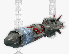Missile 12 sci-fi low poly 3D asset