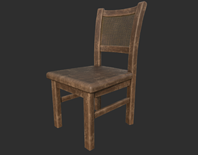 low-poly Old Wooden Rattan chair 3D model with PBR Texture