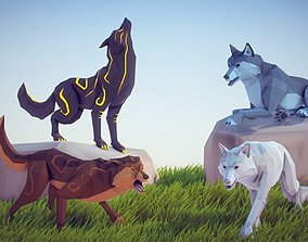 3D asset animated Poly Art Wolf