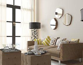 Wooden Decorative Mirror Set 3D model