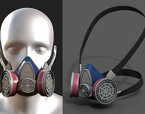 Gas mask helmet 3d model safety isolated fantasy low-poly