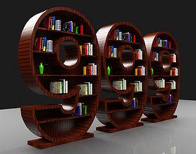 Wooden Book Shelve 999 3D