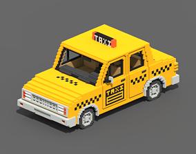 Voxel Taxi 3D asset