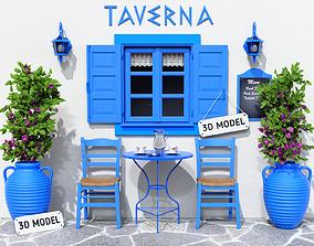 3D model Greek Taverna Terrace