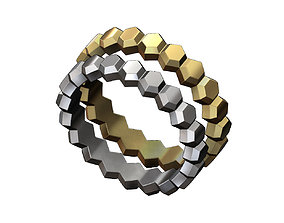 3D print model Hexagonal Faceted norrow band