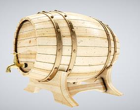 3D model low-poly Wood Barrel