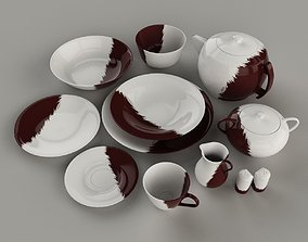 plate 3D model Set of dishes