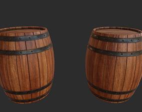 Wood Barrel 3D asset low-poly