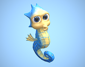 3D model cartoon sea horse