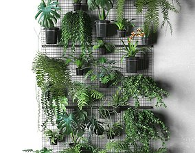 3D model Wall Grid with Pot Plants