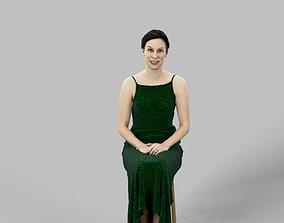 3D asset Eva Sitting Woman in a Dress Holding Her Hands