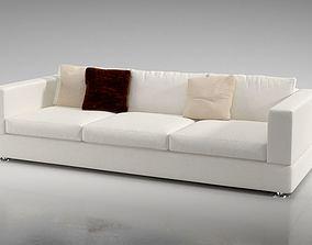 3D Long White Modern Sofa