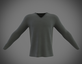3D model v-neck long sleeve t-shirt