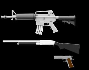 Low Poly Firearms Pack 3D model