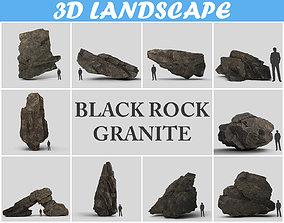 3D model Low poly Black Granite Rock Formation Pack