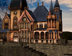 3d castle model game-ready