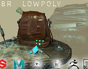 Scene Magical Leather Hunter Bag with flasks 3D asset