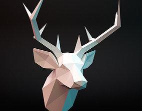 3D asset deer head low-poly