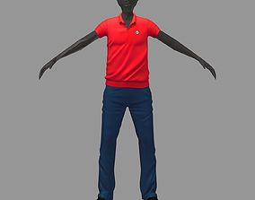 avatar casual set red polo blue pants sneakers 3D