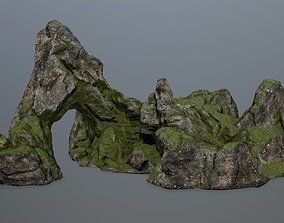 rock gate moss 3D asset low-poly
