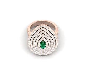 jewel delicate Women cocktail ring 3dm render detail