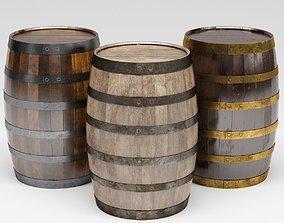 Wooden Barrels 3D asset low-poly
