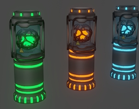 Sci-fi lab Capsule with energy ball 3D asset rigged