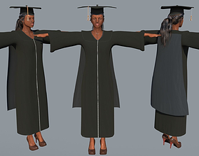 Academic Gown Female Graduate 3D model B rigged