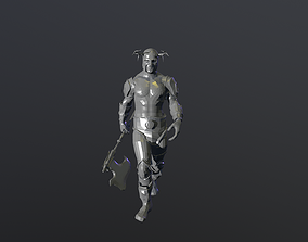 Barbarian low poly 3d model animated