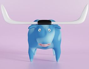 3D Blue Ox cartoon stylized character