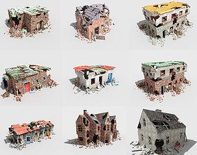 9 destroyed buildings pack 3D asset