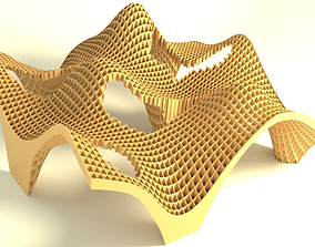 3D asset Organic plywood structure