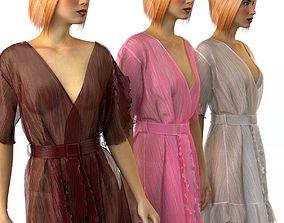 Set of womens silk robes 3 3D model