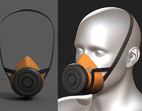 Gas mask protection futuristic technology 3D asset