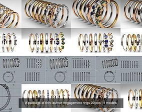 3D model A package of thin fashion engagement rings 20 pcs