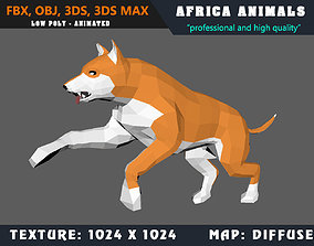 Low Poly Dog Cartoon 3D Model Animated - Game animated