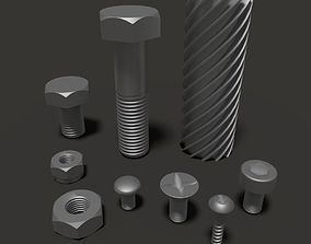 3D Bolts and nuts kit with worm