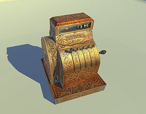 Antique Cash Register 3D lowpoly model game-ready