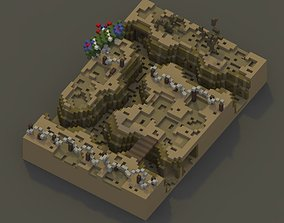 3D asset game-ready Trenches Voxel Art Scene