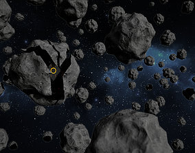 animated Disguised Asteroid Enemy Game Model