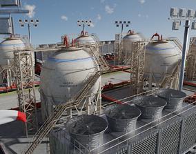 3D asset Petroleum Refinery Storage Tanks