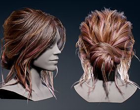 Real-Time Bun Hairstyle 3D asset