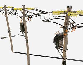 3D model PBR Telegraph Poles